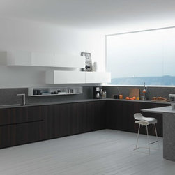 Smart kitchen design - These contemporary Italian kitchen cabinets are  by Zampieri Cucine from Italy is big on style and great for storage. Two color tones and clean lines provide a nice contrast.