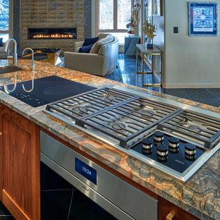 デンバーの中サイズのエクレクティックスタイルのおしゃれなキッチン (アンダーカウンターシンク、シェーカースタイル扉のキャビネット、御影石カウンター、シルバーの調理設備の、黒い床、マルチカラーのキッチンカウンター) の写真