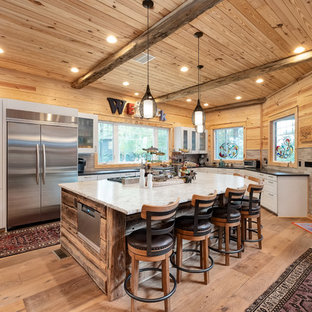 Rustic Kitchen Designs Inspiration For A L Shaped Medium Tone Wood Floor And