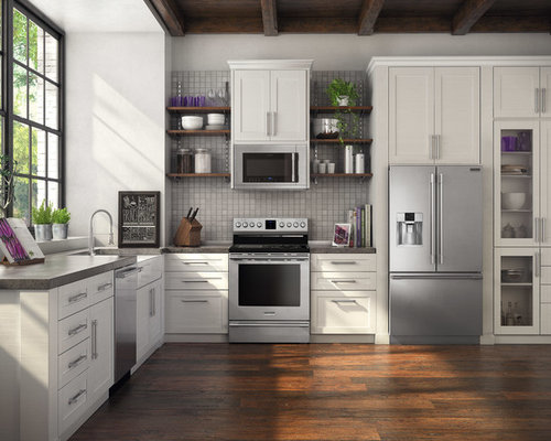 SaveEmail. Smudge Proof Stainless Steel Appliances. 29 Saves | 0 Questions.  Traditional Kitchen With White ...