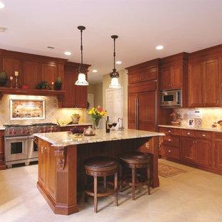 Foto de cocina en U, clásica, con armarios con paneles empotrados, puertas de armario de madera oscura, salpicadero beige, electrodomésticos con paneles y salpicadero de piedra caliza