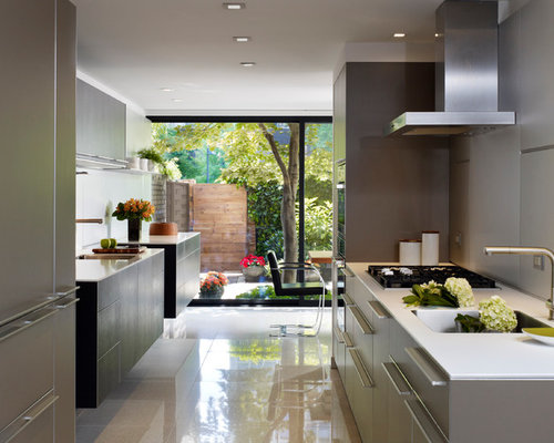 Inspiration For A Contemporary Galley Porcelain Floor Eat In Kitchen Remodel Philadelphia With Flat