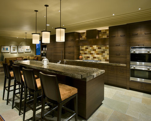 Example Of A Trendy Eat In Kitchen Design In Phoenix With Flat Panel  Cabinets