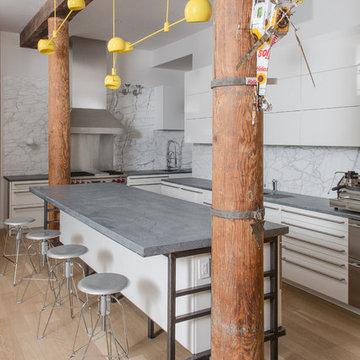 SoHo NYC Loft Kitchen With Virginia Alberene Soapstone