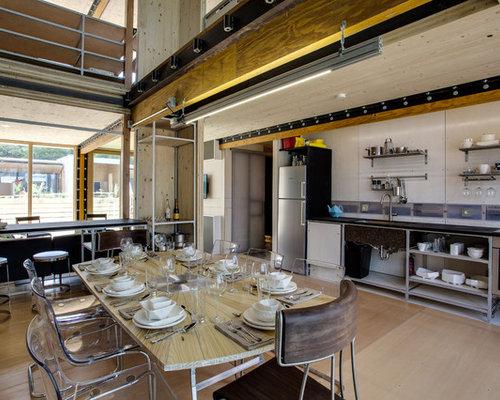 Cuisine industrielle avec un placard sans porte photos - Cuisine industrielle inox ...