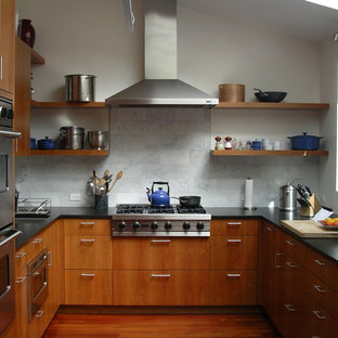 Trendy U Shaped Kitchen Photo In San Francisco With Stainless Steel Liances Open Cabinets