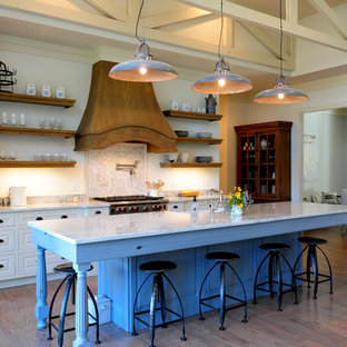 Rustic kitchen pictures - Inspiration for a rustic kitchen remodel in Raleigh with open cabinets, white cabinets and paneled appliances