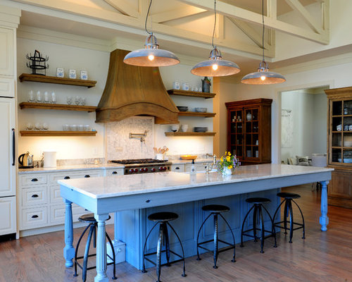 Open Shelf Island Bench Wood Beams And Country Sink: Custom Wood Hood Ideas, Pictures, Remodel And Decor