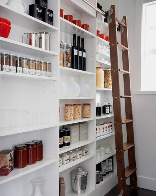 Narrow pantry houzz for Modern walk in pantry