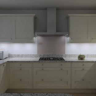 他の地域の中サイズのモダンスタイルのおしゃれなキッチン (一体型シンク、シェーカースタイル扉のキャビネット、黄色いキャビネット、珪岩カウンター、グレーのキッチンパネル、ガラス板のキッチンパネル、シルバーの調理設備の、淡色無垢フローリング、ベージュの床) の写真