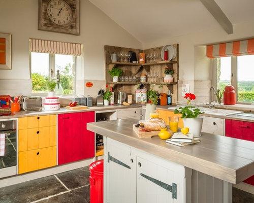Cuisine campagne avec un sol en ardoise photos et id es d co de cuisines - Taille moyenne cuisine ...