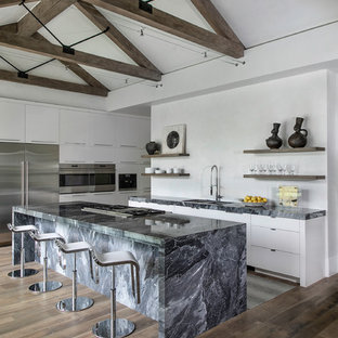Contemporary kitchen pictures - Kitchen - contemporary l-shaped dark wood floor and brown floor kitchen idea in Houston with an island, an undermount sink, flat-panel cabinets, white cabinets, stainless steel appliances and gray countertops