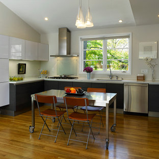 Inspiration for a modern kitchen remodel in DC Metro with stainless steel appliances