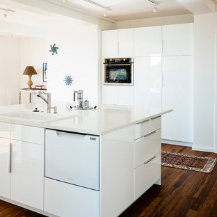 Mid-sized contemporary kitchen ideas - Inspiration for a mid-sized contemporary dark wood floor kitchen remodel in San Francisco with a drop-in sink, flat-panel cabinets, white cabinets and an island