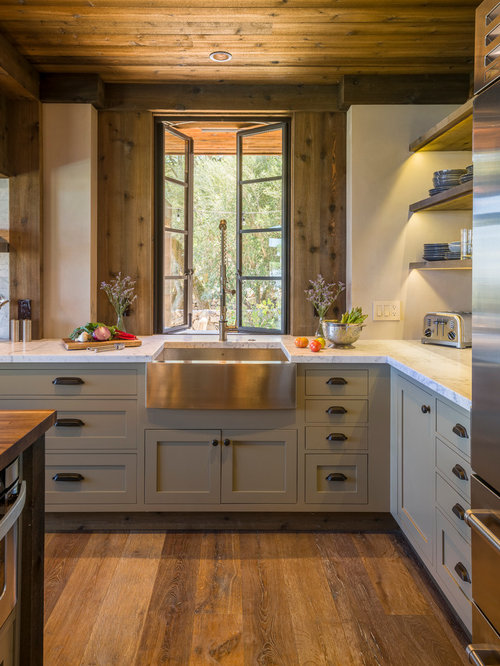 Mid Sized Rustic Kitchen Ideas   Mid Sized Mountain Style L Shaped Medium