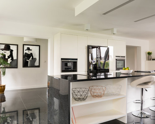 kitchen design sink. Contemporary kitchen appliance  Example of a trendy galley black floor design in Los Angeles Top 20 Kitchen with Drop In Sink Ideas Decoration Pictures Houzz