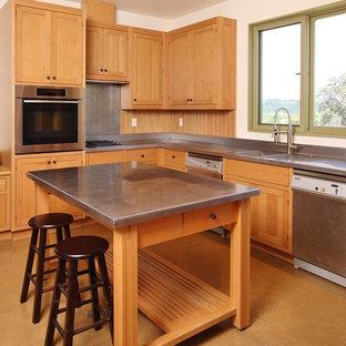 Modelo de cocina de estilo de casa de campo con fregadero integrado, encimera de zinc, armarios estilo shaker, puertas de armario de madera oscura y electrodomésticos de acero inoxidable