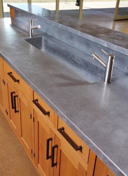 Farmhouse kitchen by solid form fabrication for Zinc kitchen countertop