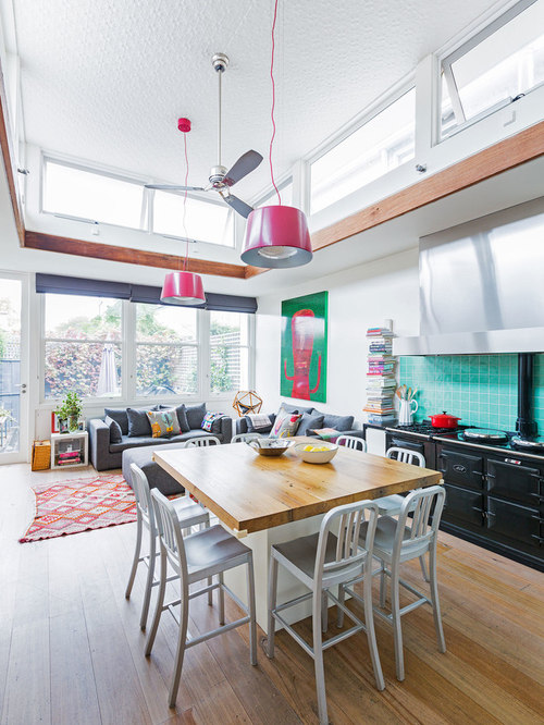 Open concept kitchen living room houzz - Open concept living room furniture placement ...