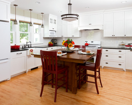 593 Craftsman Kitchen With White Appliances Design Ideas & Remodel