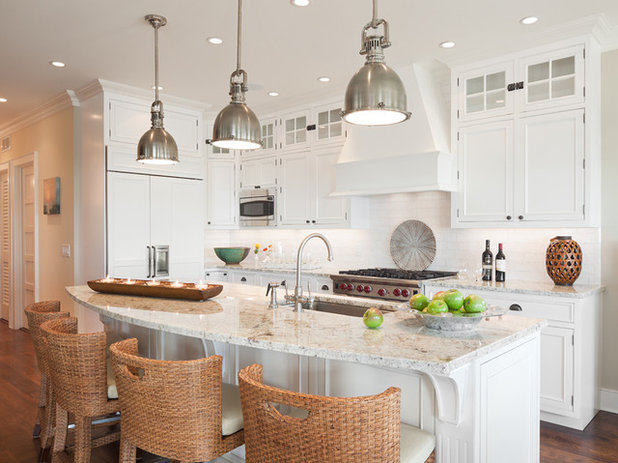 Kitchen Island Pendant Lighting: Beach Style Kitchen by Richard Bubnowski Design LLC,Lighting