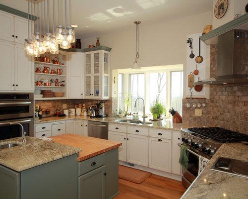 24 Mid-Sized Farmhouse U-Shaped Kitchen Design Photos with Beaded ...