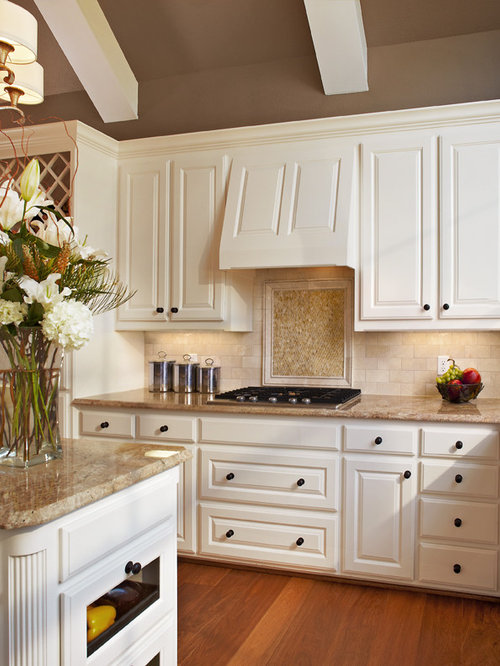 Polished Crema Marfil Backsplash Home Design Ideas