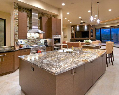 Southwestern Kitchen Island Kitchen Design Ideas Remodels Photos With Stone Tile Backsplash