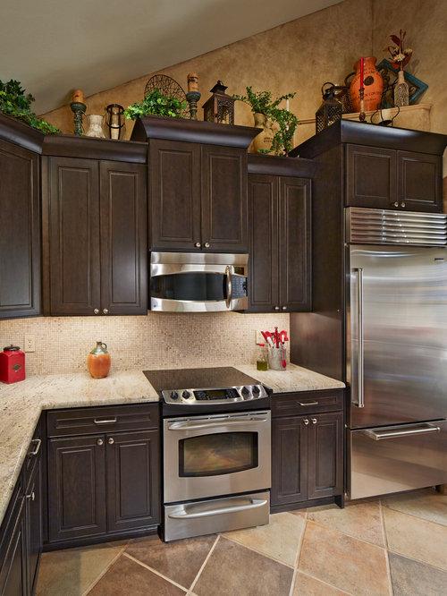 Southwestern Kitchen With Dark Wood Cabinets Design Ideas
