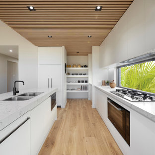 Photo of a mid-sized contemporary kitchen in Sydney with an undermount sink, with island and wood.