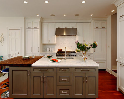 Traditional Open Concept Kitchen Pictures   Inspiration For A Timeless  Medium Tone Wood Floor Open Concept