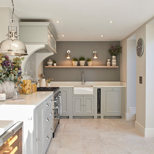 Spacious and bright kitchen with feature wall colour
