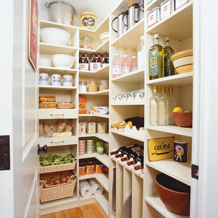 Large traditional kitchen pantry designs - Example of a large classic l-shaped light wood floor and beige floor kitchen pantry design in New York with open cabinets and white cabinets