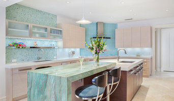 Spacious Newly-Completed Boca Kitchen with Aqua Accents
