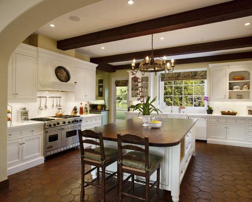Inspiration For A Large Mediterranean U Shaped Kitchen Remodel In Santa  Barbara With Recessed