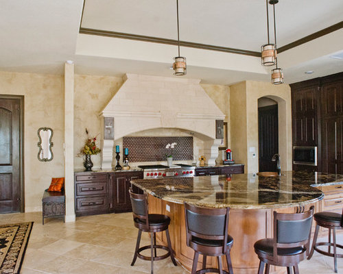 Best southwestern kitchen with metal backsplash design for Travertine eye drops