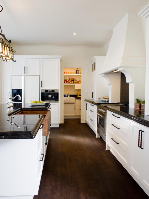 white cabinet dark floor | houzz