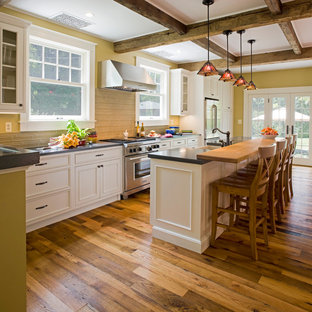 Craftsman Kitchen Photos   Arts And Crafts Galley Kitchen Photo In Baltimore  With Concrete Countertops,