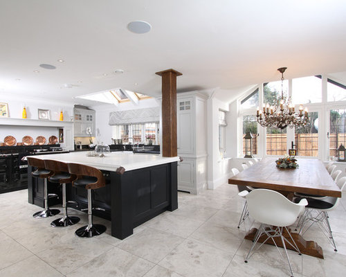 Example Of A Large Transitional L Shaped Ceramic Floor Eat In Kitchen Design  In