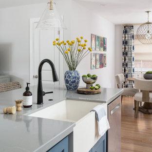 ヒューストンの中くらいのエクレクティックスタイルのおしゃれなキッチン (エプロンフロントシンク、シェーカースタイル扉のキャビネット、青いキャビネット、クオーツストーンカウンター、マルチカラーのキッチンパネル、大理石のキッチンパネル、シルバーの調理設備、淡色無垢フローリング、グレーのキッチンカウンター) の写真