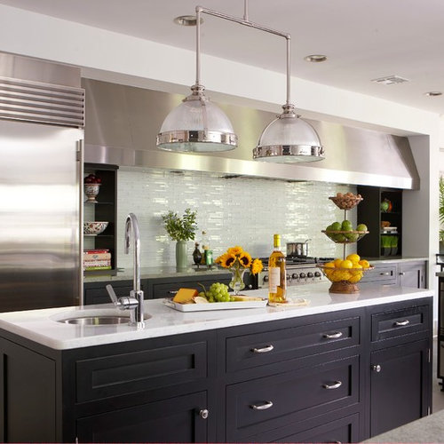 Coastal Kitchen Photo In New York With An Undermount Sink, Shaker Cabinets,  Black Cabinets