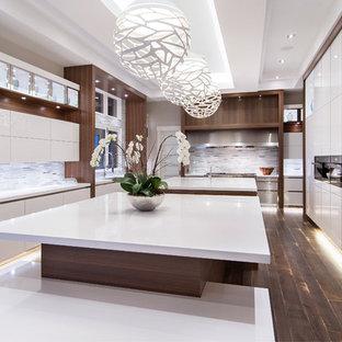 カルガリーの広いコンテンポラリースタイルのおしゃれなキッチン (トリプルシンク、フラットパネル扉のキャビネット、白いキャビネット、珪岩カウンター、マルチカラーのキッチンパネル、ボーダータイルのキッチンパネル、シルバーの調理設備、濃色無垢フローリング) の写真