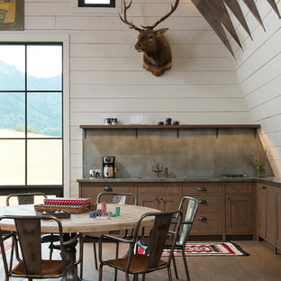 Design ideas for a large country single-wall eat-in kitchen in Other with an undermount sink, shaker cabinets, medium wood cabinets, zinc benchtops, grey splashback, panelled appliances, no island and dark hardwood floors.
