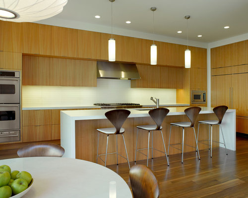 Anigre cabinets houzz for Anigre kitchen cabinets