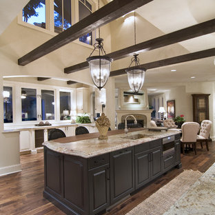 Design ideas for a traditional open plan kitchen in Minneapolis with an integrated sink.