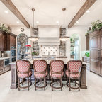 Natural Tuscan Inspired Kitchen View To Breakfast Room
