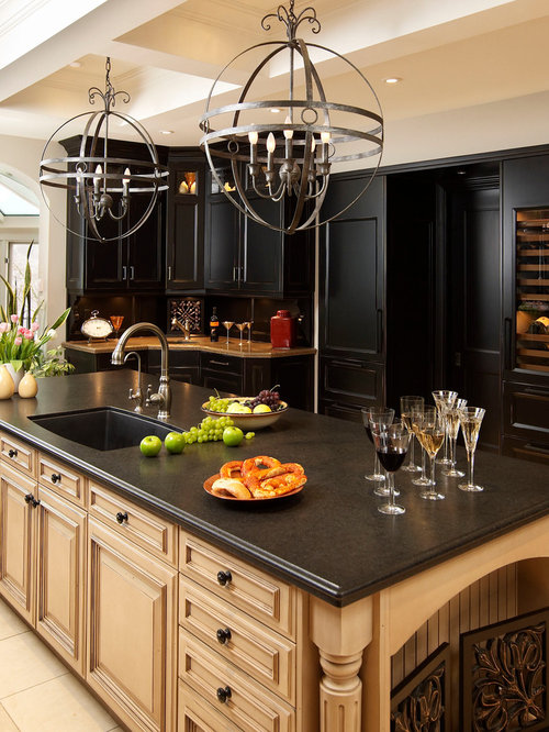 Black and tan kitchen ideas pictures remodel and decor for Black and beige kitchen