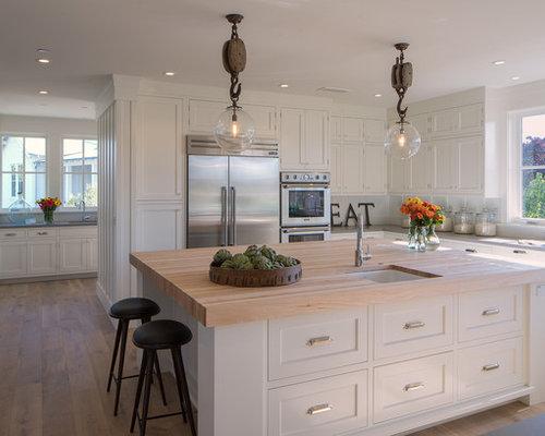 Farmhouse L Shaped Medium Tone Wood Floor Kitchen Idea In San Francisco  With A Farmhouse