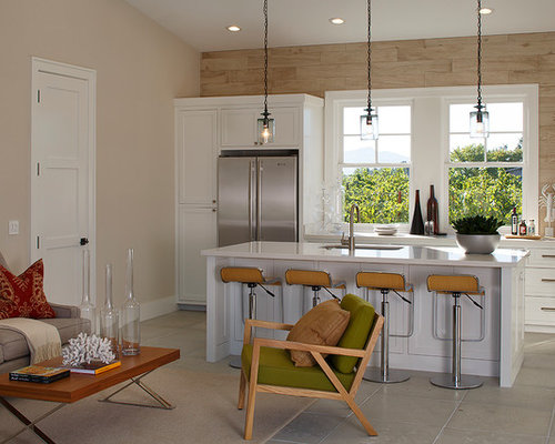 Inspiration For A Farmhouse Galley Open Concept Kitchen Remodel In San  Francisco With White Cabinets