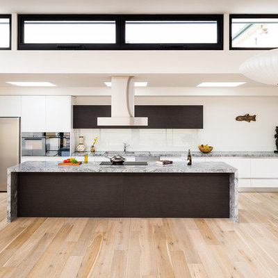 Large minimalist galley light wood floor kitchen photo in Melbourne with flat-panel cabinets, white cabinets, marble countertops, white backsplash, glass sheet backsplash, stainless steel appliances, an island and a drop-in sink